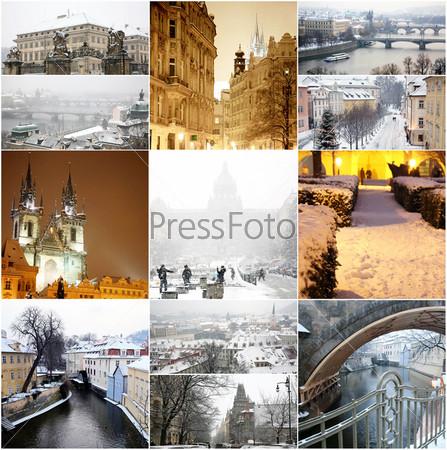 Коллаж со сказочной зимней Прагой