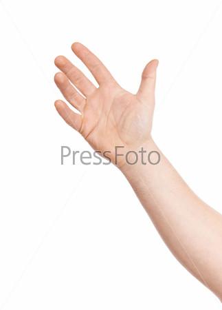 Жест руки на белом фоне