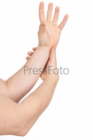 Жест рук на белом фоне