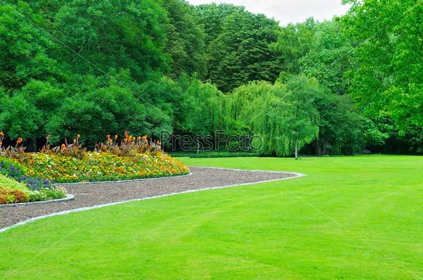 Летний сад с газоном и цветником