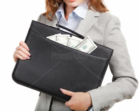 Фотография на тему Деловая женщина с черным портфелем