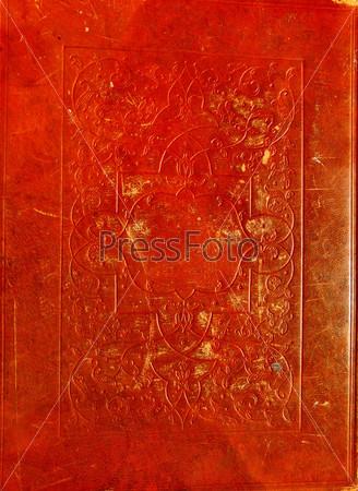 Старая красная кожаная текстура с декоративной рамкой