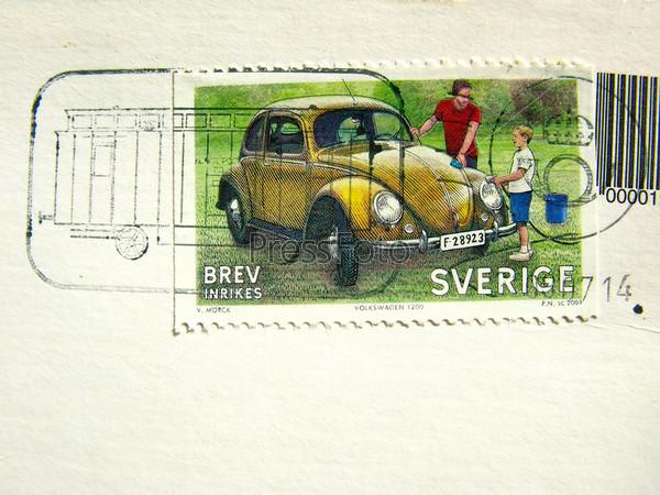 Старая шведская марка со штампом крупным планом