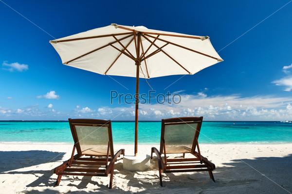 Красивый пляж на Мальдивах