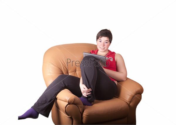 Девушка с планшетным ПК