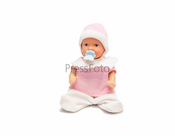 Фотография на тему Пупс в розовой одежде, изолированный на белом фоне