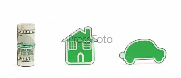 Значки автомобиля и дома, изолированные на белом фоне