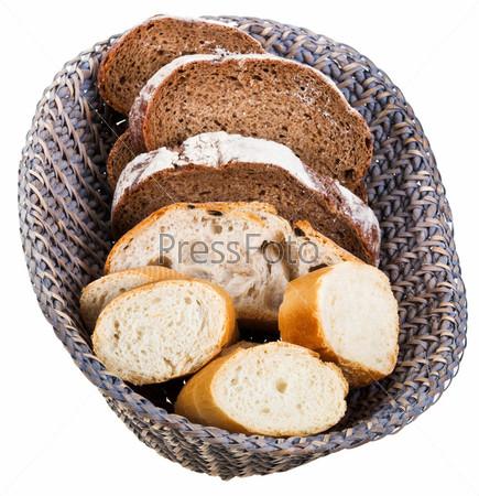 Корзина с кусками хлеба