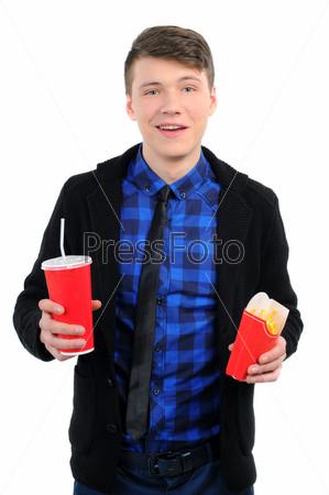 Изолированный мужчина с быстрым питанием