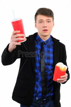 Фотография на тему Изолированный мужчина с быстрым питанием