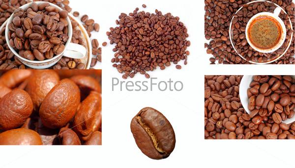 Коллекция кофе и кофейных зерен на белом фоне