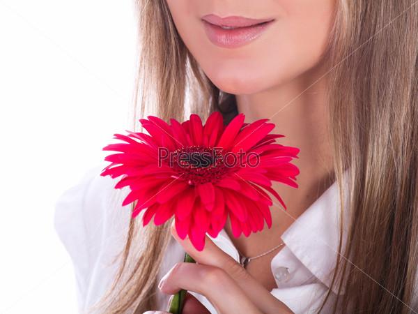 Фотография на тему Женские губы и цветок