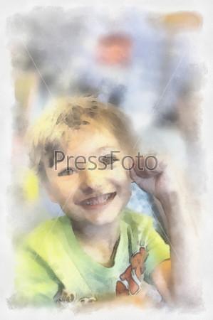 Акварельный портрет красивого ребенка
