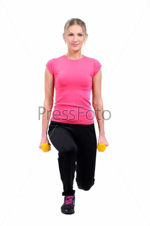 Фотография на тему Портрет женщины, тренирующеяся с гантелями
