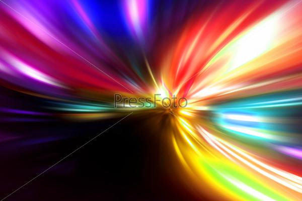 Фотография на тему Быстрое дорожное движение ночью