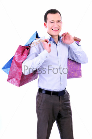Фотография на тему Мужчина с покупками на белом фоне