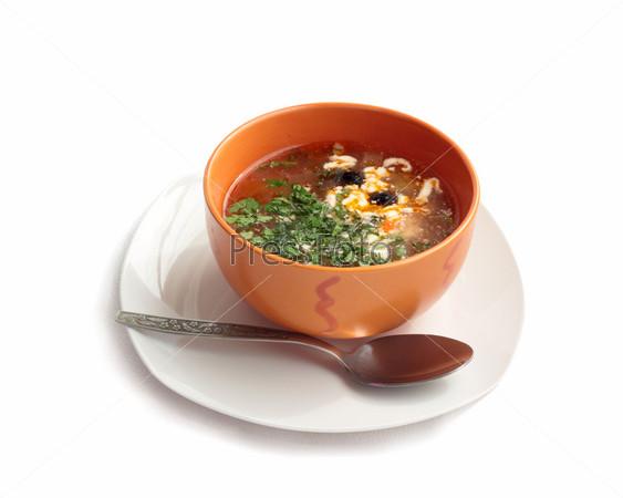 Суп с помидорами и оливками