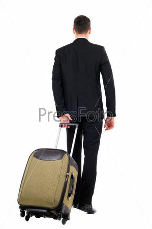 Портрет успешного бизнесмена с чемоданом, изолированный на белом фоне