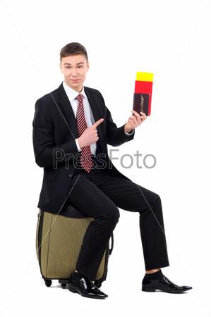 Фотография на тему Портрет предпринимателя с документами для полета, изолированный на белом