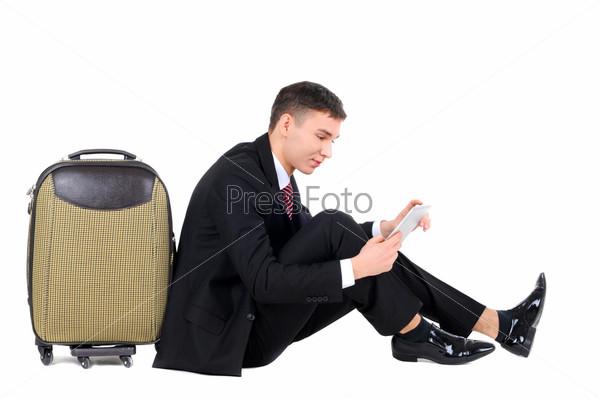 Фотография на тему Портрет успешного бизнесмена с чемоданом, изолированный на белом фоне