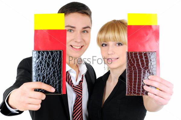 Фотография на тему Портрет деловой пары с авиабилетами, изолированный на белом фоне