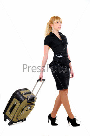 Фотография на тему Женщина с чемоданом на белом фоне