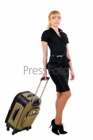 Женщина с чемоданом на белом фоне