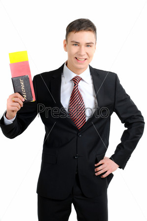 Портрет бизнесмена с документами для полета на самолете, изолировано на белом