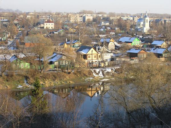 Город Торжок. Никольская церковь. Река Тверца. Вид со смотровой площадки Борисоглебского мужского монастыря