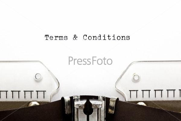 "Фотография на тему ""правила и условия"" на листе бумаги"