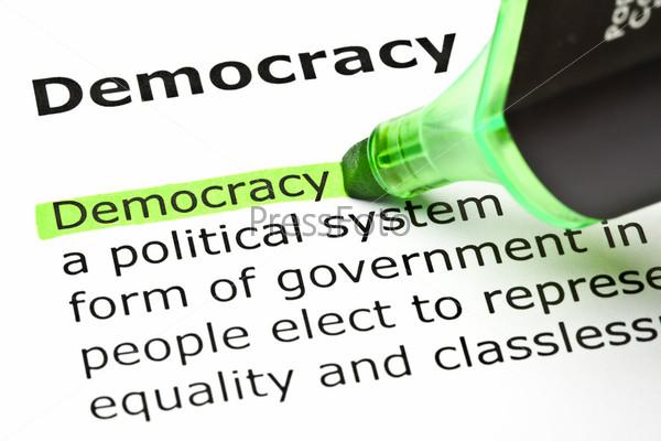 """Фотография на тему """"Демократия"""" выделена зеленым цветом"""