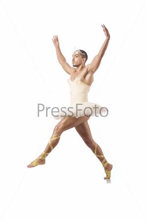 Фотография на тему Мужчина в балетной пачке, изолированный на белом фоне
