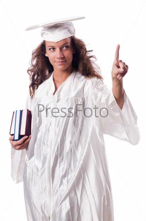 Фотография на тему Выпускница с книгами, изолированная на белом фоне