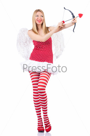 Женщина со стрелой в концепции дня святого Валентина
