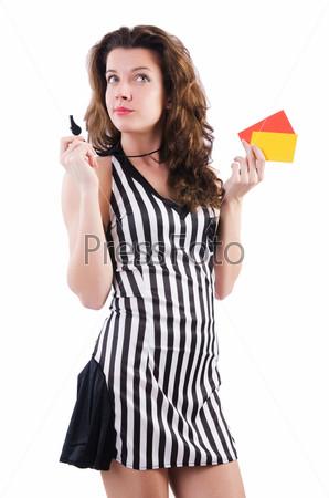 Фотография на тему Женщина рефери с карточкой на белом фоне