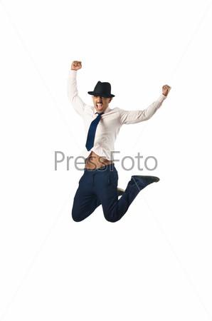 Фотография на тему Прыгающий бизнесмен в концепции бизнеса на белом фоне