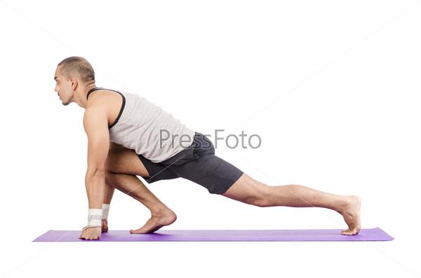 Фотография на тему Человек делает упражнения на белом фоне