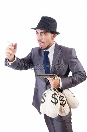 Преступник с мешками денег