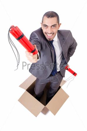 Фотография на тему Бизнесмен с динамитом, изолированный на белом