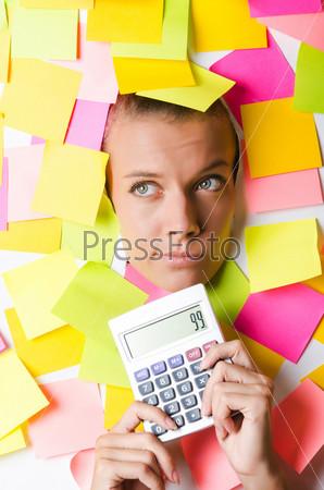 Бизнес-леди с большим количеством стикеров