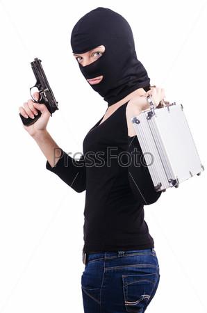 Бандит с пистолетом, изолированный на белом