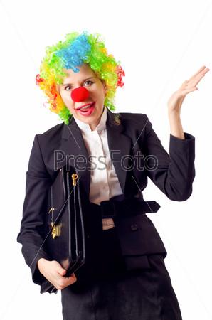 Женщина-клоун в деловом костюме