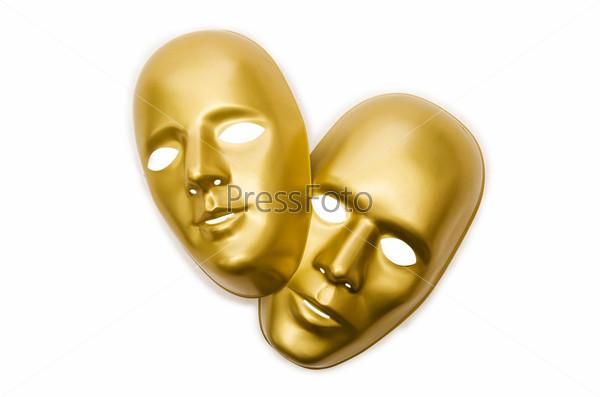 Блестящие маски, изолированные на белом фоне