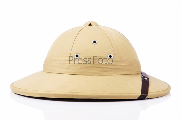 Пробковый шлем, изолированный на белом