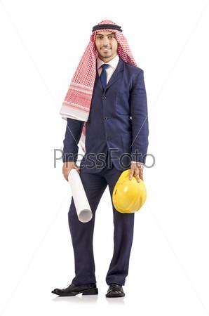 Арабский инженер с рисунками на белом фоне
