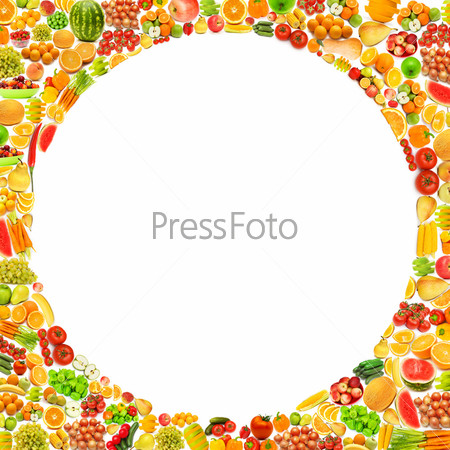 Рамка из различных фруктов и овощей