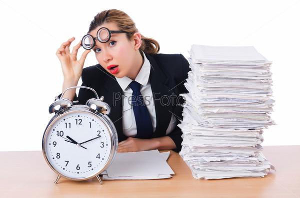Фотография на тему Бизнес-леди с часами и документами