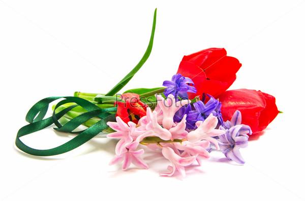 Букет из гиацинтов с тюльпанами