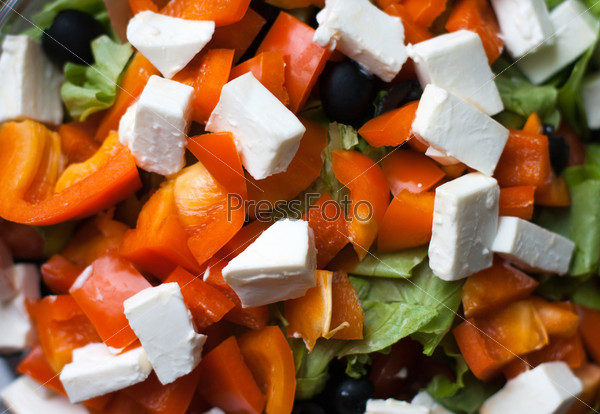 Полезный свежий салат крупным планом