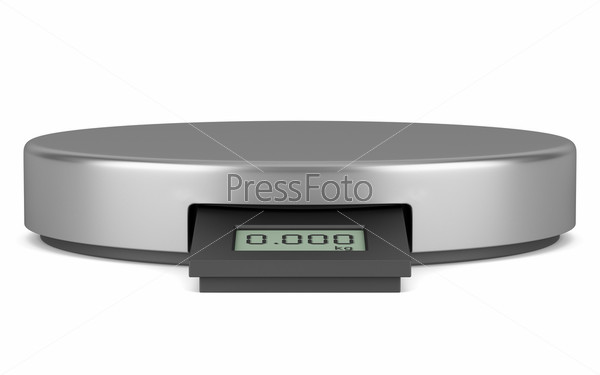Фотография на тему Современные металлические цифровые кухонные весы, изолированные на белом фоне